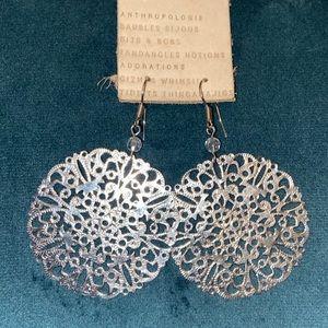 Anthropologie laser-cut oversized silver earrings